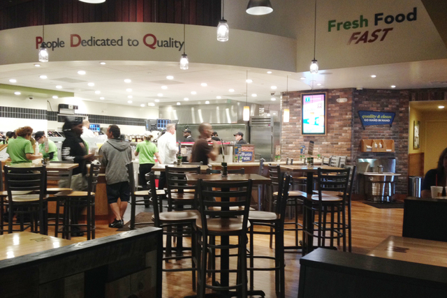 The dining room is shown at PDQ, 3737 W. Craig Road in North Las Vegas, March 17, 2015. PDQ, which stands for People Dedicated to Quality, chose North Las Vegas as the chain's first restaurant w ...