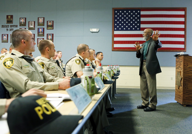 Mujahid Ramadan leads a Las Vegas Metropolitan Police Department Recruits Academy diversity and cultural awareness training class at Metro Training Center Tuesday, May 12, 2015, in Las Vegas. The  ...