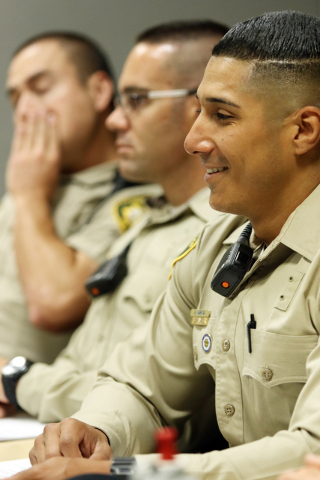 Recruit Alfred Garcia attends a Las Vegas Metropolitan Police Department Recruits Academy diversity and cultural awareness training class at Metro Training Center Tuesday, May 12, 2015, in Las Veg ...