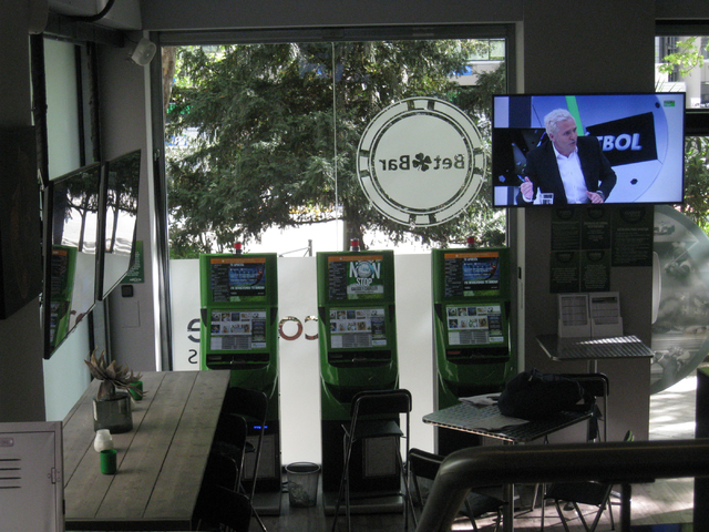 The Bet Bar sports wagering terminals offer lines on all sporting events, including baseball, football and basketball games played in the U.S. The facility in Madrid, seen on April 20, 2015, is lo ...