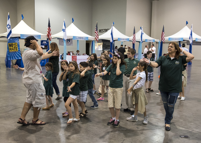 Israeli Scouts dance during Israel Fest inside the Venetian hotel-casino in Las Vegas on Sunday, May 10, 2015. (Martin S. Fuentes/Las Vegas Review-Journal)
