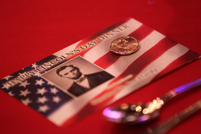 A souvenir rests on a table for attendees of former Florida Gov. Jeb Bush's speech at a Clark County Republican Party dinner Wednesday, May 13, 2015, at the Orleans. (Sam Morris/Las Vegas Review-J ...
