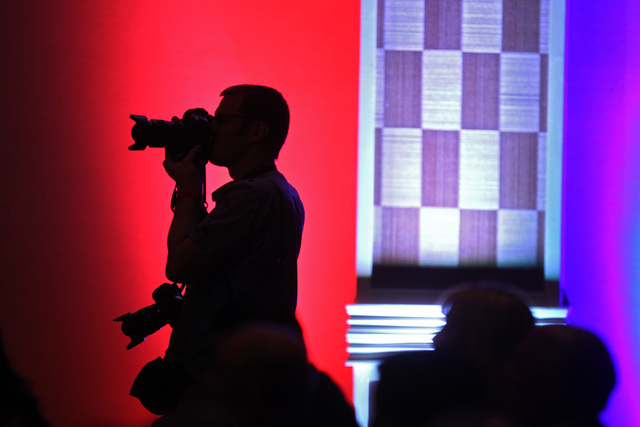 Associated Press photographer John Locher photographs former Florida Gov. Jeb Bush speaking at a Clark County Republican Party dinner Wednesday, May 13, 2015, at the Orleans. (Sam Morris/Las Vegas ...