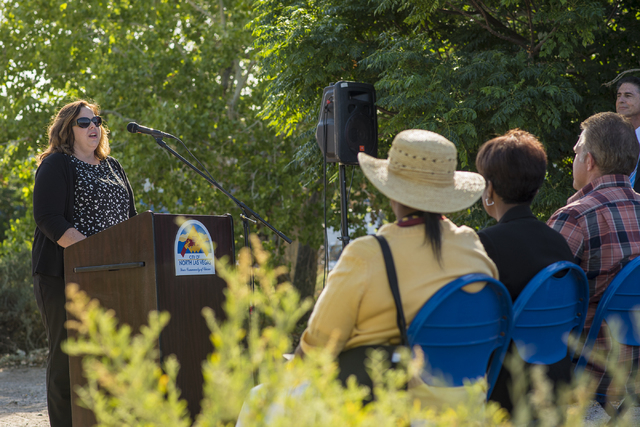 Johanna Murphy, principal planner for the City of North Las Vegas, speaks during a groundbreaking ceremony for Kiel Ranch Historic Park in North Las Vegas on Wednesday, May 13, 2015. (Las Vegas Re ...