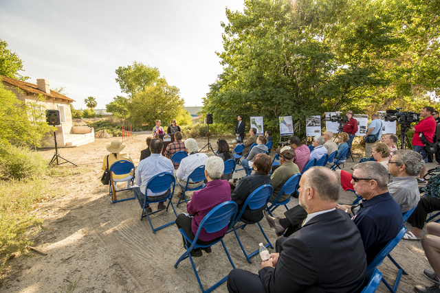 Karla Norris, assistant district manager of the Bureau of Land Management, and Johanna Murphy, principal planner for the City of North Las Vegas, speak during a groundbreaking ceremony of Kiel Ran ...