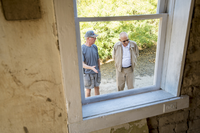 Jeff Alpert, left, and Terry Kane tour the site during the groundbreaking at Kiel Ranch Historic Park in North Las Vegas on Wednesday, May 13, 2015. (Las Vegas Review-Journal/Joshua Dahl)