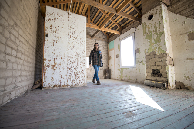 Gay Shoaff walks through a building on site during a groundbreaking ceremony for Kiel Ranch Historic Park in North Las Vegas on Wednesday, May 13, 2015. (Las Vegas Review-Journal/Joshua Dahl)