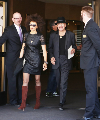 Drummer Cindy Blackman-Santana, left, and her husband, guitarist Carlos Santana, leave Palm Mortuary Downtown on 1325 N. Main St., after attending B.B. King's memorial service on Saturday, May 23, ...