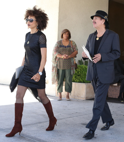 Drummer Cindy Blackman-Santana and her husband, guitarist Carlos Santana, leave Palm Mortuary Downtown on 1325 N. Main St., after attending B.B. King's memorial service on Saturday, May 23, 2015.  ...
