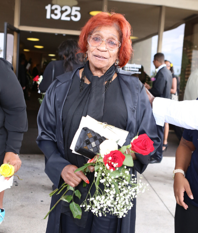B.B. King's only living sister, Ruby Davis, leaves Palm Mortuary Downtown after attending B.B. King's memorial service on Saturday, May 23, 2015. (Bizuayehu Tesfaye/Las Vegas Review-Journal) Follo ...