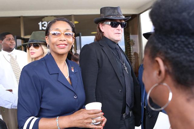 B.B. King's daughter Rita Washington, left, and guitarist Richie Sambora leave Palm Mortuary Downtown after attending B.B. King's memorial service on Saturday, May 23, 2015. (Bizuayehu Tesfaye/Las ...