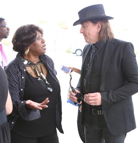 B.B. King's daughter Shirley King and guitarist Richie Sambora talk outside Palm Mortuary Downtown after attending B.B. King's memorial service on Saturday, May 23, 2015. (Bizuayehu Tesfaye/Las Ve ...