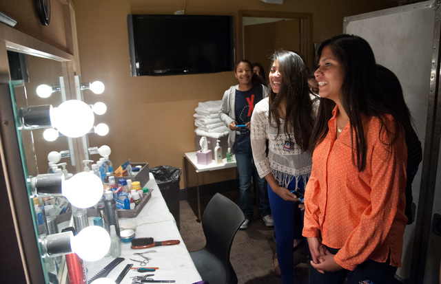 Members of the eighth-grade orchestra class at Knudson Middle School, 2400 Atlantic St., tour a backstage dressing room May 13, 2015, during an all-access tour of The Joint at the Hard Rock Hotel, ...