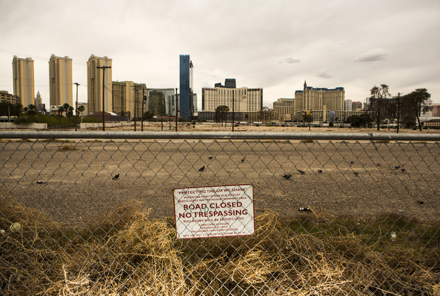 A view of land at the corner of Harmon Avenue and Koval Lane is seen Thursday, May 14, 2015. A megaresort called Las Ramblas was planned on the site by actor George Clooney and Rande Gerber nearly ...