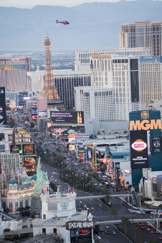 The Strip seen from the Foundation Room at the top of the Mandalay Bay hotel-casino in Las Vegas on Wednesday, May 27, 2015. (Martin S. Fuentes/Las Vegas Review-Journal)