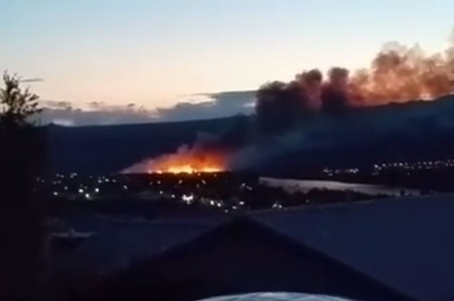 The growing fire is seen in a video posted on Facebook just after 8:00 p.m. May 17, 2015. (Screengrab, Jeff Eaton/Facebook)