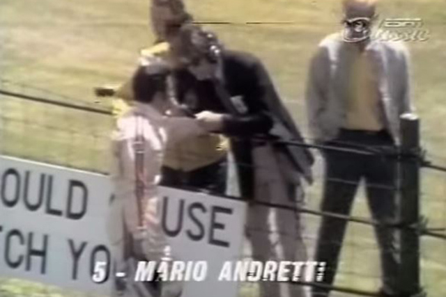 David Letterman is shown interviewing Mario Andretti during the 1971 Indianapolis 500, when Letterman was moonlighting as an ABC pit reporter. (Screengrab/SITKASAILS/YouTube)
