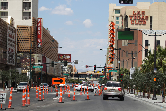 Construction on Main Street continues in downtown Las Vegas Tuesday, May `19, 2015. (Sam Morris/Las Vegas Review-Journal)