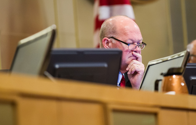 Councilman Bob Beers is seen during a city council meeting at Las Vegas City Hall on Wednesday, May 20, 2015. (Chase Stevens/Las Vegas Review-Journal) Follow Chase Stevens on Twitter @csstevensphoto