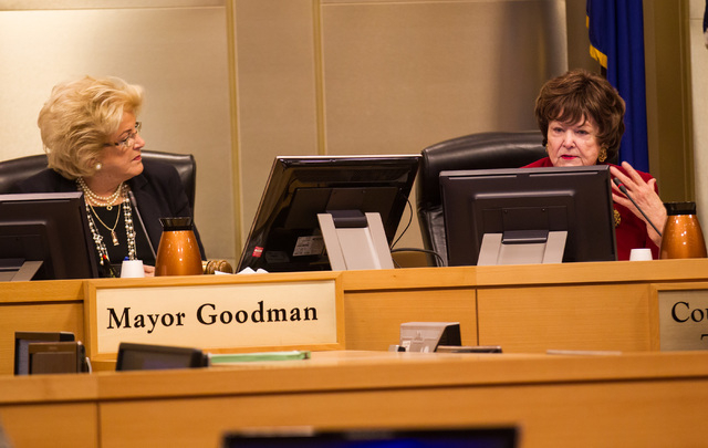 Councilwoman Lois Tarkanian, right, speaks about a publicly funded city garage as Mayor Carolyn Goodman looks on before voting on the matter during a city council meeting at Las Vegas City Hall on ...