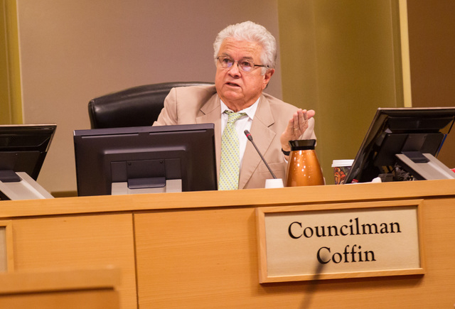 Councilman Bob Coffin speaks about a publicly funded city garage before voting on the matter during a city council meeting at Las Vegas City Hall on Wednesday, May 20, 2015. The item passed 5-2. ( ...