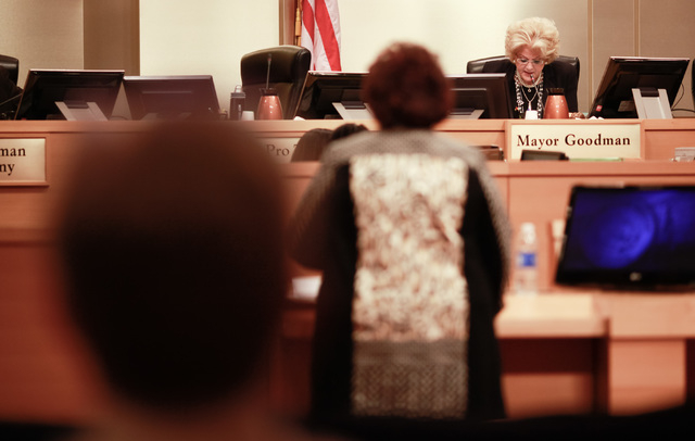 Mayor Carolyn Goodman speaks during a city council meeting at Las Vegas City Hall on Wednesday, May 20, 2015. (Chase Stevens/Las Vegas Review-Journal) Follow Chase Stevens on Twitter @csstevensphoto