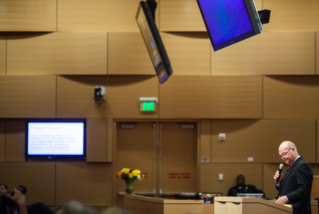 Councilman Bob Beers speaks during a city council meeting at Las Vegas City Hall on Wednesday, May 20, 2015. (Chase Stevens/Las Vegas Review-Journal) Follow Chase Stevens on Twitter @csstevensphoto