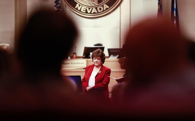 Councilwoman Lois Tarkanian is seen during a city council meeting at Las Vegas City Hall on Wednesday, May 20, 2015. (Chase Stevens/Las Vegas Review-Journal) Follow Chase Stevens on Twitter @csste ...