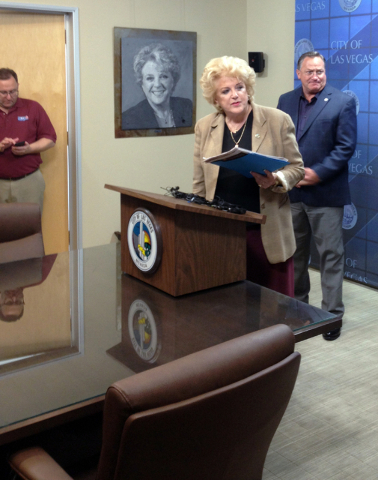Las Vegas Mayor Carolyn Goodman prepares to speak at a news media conference at City Hall on Tuesday, May 5, 2015. Goodman she would lie down on U.S. Highway 95 to stop the transport of uranium wa ...