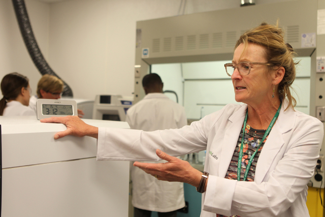 Dr. Cindy Orser, chief science officer for DigiPath Labs, gives a tour inside the analytical room at the DigiPath Labs facility in Las Vegas Wednesday, April 15, 2015. DigiPath Labs will be one of ...