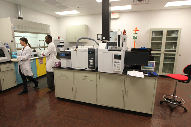 The inside of the analytical room at the DigiPath Labs facility in Las Vegas is seen during a tour Wednesday, April 15, 2015. DigiPath Labs will be one of the first in Clark County facilities to o ...