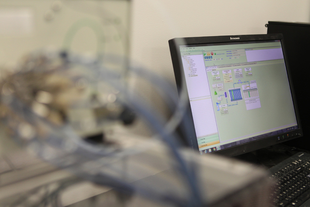 A computer attached to a super critical fluid extractor is seen inside the research and development room at the DigiPath Labs facility in Las Vegas during a tour Wednesday, April 15, 2015. DigiPat ...