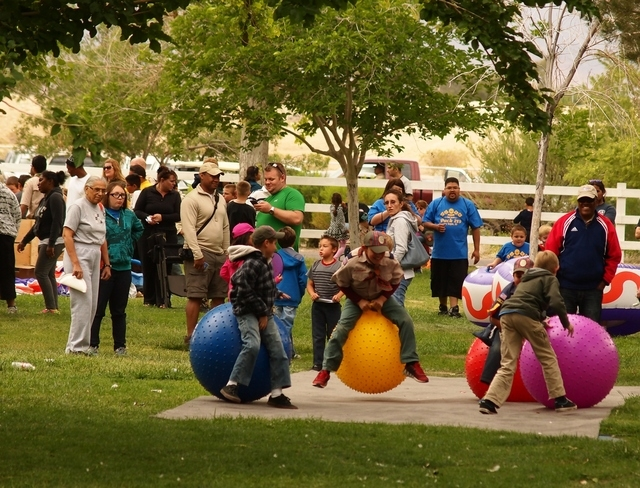 Family, friends and leaders of Boy Scouts participate at the Mega Scout Expo 2015 at Floyd Lamb Park at Tule Springs in Las Vegas, April 25, 2015. The two-day outdoor festival featured exhibits, d ...