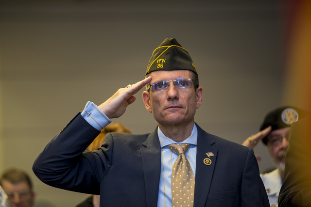 Congressman Joe Heck salutes during the Memorial Day celebration at the Southern Nevada Veterans Memorial Cemetery in Boulder City, Nev. on Monday, May 25, 2015. (Joshua Dahl/Las Vegas Review-Journal)