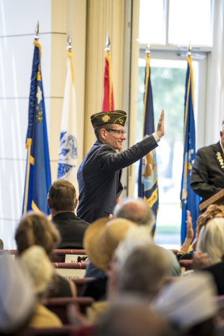 Congressman Joe Heck waves to the crowd during the Memorial Day celebration at the Southern Nevada Veterans Memorial Cemetery in Boulder City, Nev. on Monday, May 25, 2015. (Joshua Dahl/Las Vegas  ...