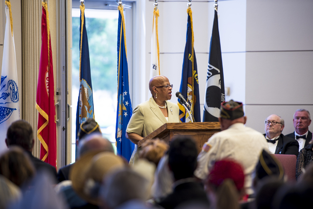 Willette Gerald delivers a keynote speech during the Memorial Day celebration at the Southern Nevada Veterans Memorial Cemetery in Boulder City, Nev. on Monday, May 25, 2015. (Joshua Dahl/Las Vega ...