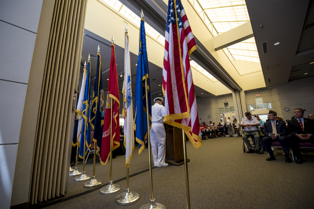 LCDR Jessie Sanchez delivers a keynote speech during the Memorial Day celebration at the Southern Nevada Veterans Memorial Cemetery in Boulder City, Nev. on Monday, May 25, 2015. (Joshua Dahl/Las  ...