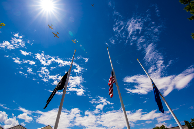 The Boulder City Veterans Pilot Group flies over during the Memorial Day celebration at the Southern Nevada Veterans Memorial Cemetery in Boulder City, Nev. on Monday, May 25, 2015. (Joshua Dahl/L ...