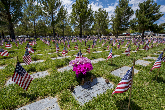 Gifts are left in memory of veterans during the Memorial Day celebration at the Southern Nevada Veterans Memorial Cemetery in Boulder City, Nev. on Monday, May 25, 2015. (Joshua Dahl/Las Vegas Rev ...