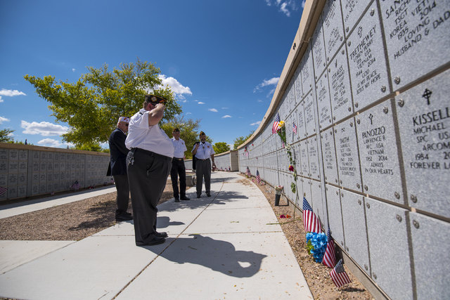 Many came out to show respect during the Memorial Day celebration at the Southern Nevada Veterans Memorial Cemetery in Boulder City, Nev. on Monday, May 25, 2015. (Joshua Dahl/Las Vegas Review-Jou ...