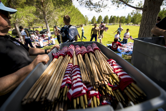 Flags are packed to be used next year during the Memorial Day celebration at the Southern Nevada Veterans Memorial Cemetery in Boulder City, Nev. on Monday, May 25, 2015. (Joshua Dahl/Las Vegas Re ...