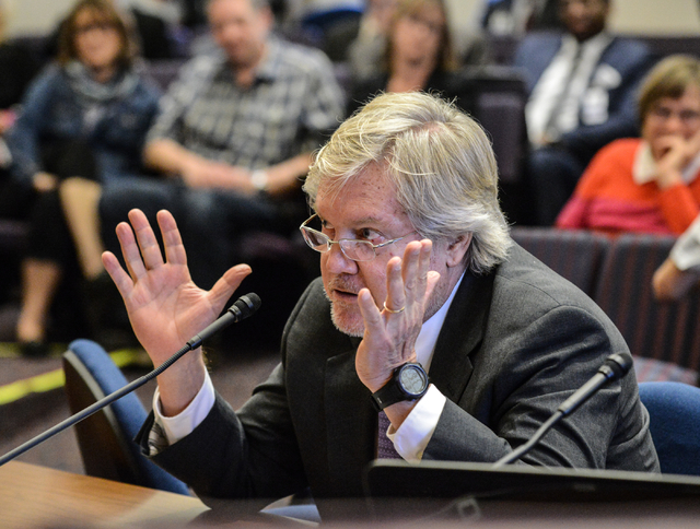 State Sen. Tick Segerblom, D-Las Vegas, explains his proposed constitutional amendment to raise the minimum wage to $15 per hour during a Senate Committee on Operations and Elections hearing in th ...