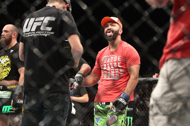 Andrei Arlovski celebrates his win over Travis Browne during their fight at UFC 187 Saturday, May 23, 2015, at the MGM Grand Garden Arena. Arlovski won by TKO in the first round. (Sam Morris/Las V ...
