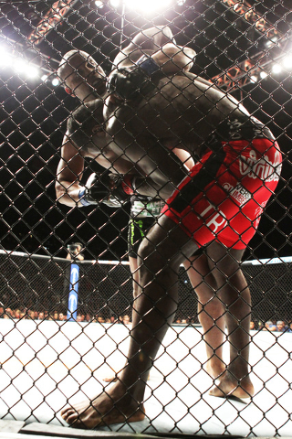 Daniel Cormier forces Anthony Johnson into the fence during their light heavyweight title fight at UFC 187 Saturday, May 23, 2015, at the MGM Grand Garden Arena. Cormier won the belt via submissio ...