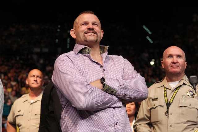 Former UFC champion Chuck Liddel watches the proceedings at UFC 187 Saturday, May 23, 2015, at the MGM Grand Garden Arena.  (Sam Morris/Las Vegas Review-Journal) Follow Sam Morris on Twitter @samm ...