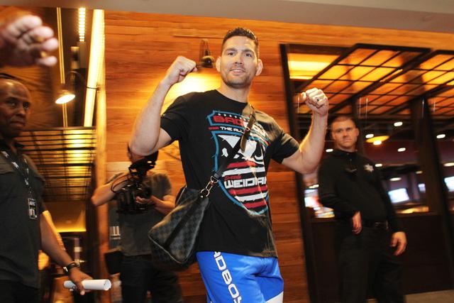 Chris Weidman arrives for the media work out for UFC 187 Wednesday, May 20, 2015 at the MGM. (Sam Morris/Las Vegas Review-Journal) Follow Sam Morris on Twitter @sammorrisRJ