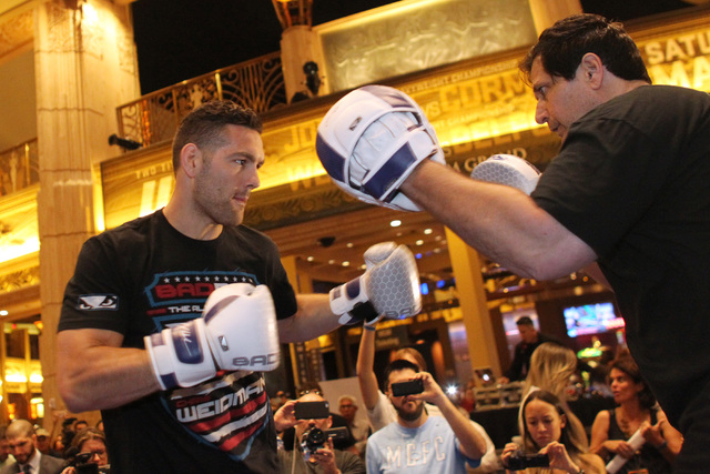 Chris Weidman throws a punch during the media work out for UFC 187 Wednesday, May 20, 2015 at the MGM. (Sam Morris/Las Vegas Review-Journal) Follow Sam Morris on Twitter @sammorrisRJ