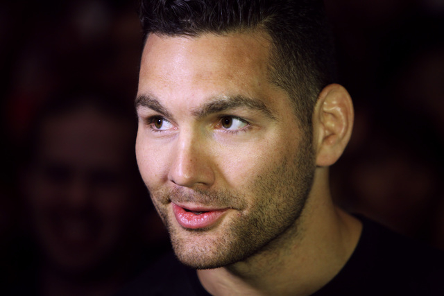 Chris Weidman talks to members of the media during the media work out for UFC 187 Wednesday, May 20, 2015 at the MGM. (Sam Morris/Las Vegas Review-Journal) Follow Sam Morris on Twitter @sammorrisRJ
