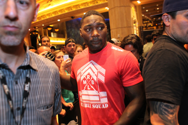 Anthony Johnson leaves the media work out for UFC 187 Wednesday, May 20, 2015 at the MGM. (Sam Morris/Las Vegas Review-Journal) Follow Sam Morris on Twitter @sammorrisRJ