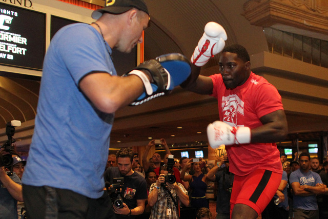 Anthony Johnson throws a punch during the media work out for UFC 187 Wednesday, May 20, 2015 at the MGM. (Sam Morris/Las Vegas Review-Journal) Follow Sam Morris on Twitter @sammorrisRJ